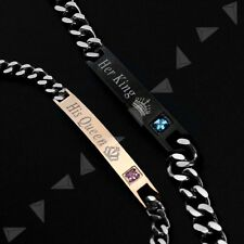 2 Her king and His Queen Engraved Bracelet Couple Stainless Steel Jewelry Gift