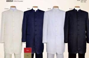 Men's Banded/Mandarin Collar Suit,Zoot/ Long Coat 6-Button Solid 6905