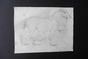 FRENCH SCHOOL 1868 - A HORSE IN A STABLE - GENRE DRAWING SIGNED MAGOT - PENCIL