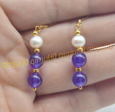 8mm Purple Amethyst Gems & Real Natural White Pearl Dangle Gold Hook Earrings