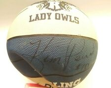 Rice Lady Owls Sterling Basketball Signed by Kim Perrot