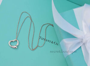 """AUTHENTIC Tiffany & Co. Small Open Heart Necklace 16"""" BEAUTIFUL!!! (#580A)"""