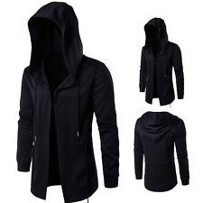 Punk Hooded Outwear Hoodie Cardigan Mens Gothic Black Trench Coat Jacket Sweats