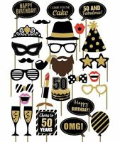 29PCS 50th Fiftieth Year Birthday Party Masks Favor Photo Booth Props US SHIP