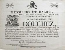 ANNONCE DE FUNERAILLES famille Douchez 1837 MEMENTO MORI PLACARD MORTUAIRE