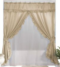 Double Swag Shower Curtain, Sand