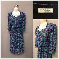 Debenhams Classics Black Floral Retro Dress UK 12 EUR 40