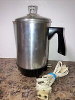 VTG CORNWALL Corp. Boston, Mass – VINTAGE Electric 4 Cup Percolator Model #225
