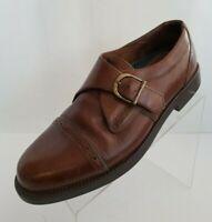 Giorgio Brutini Mens Monk Strap Brown Leather Cap Toe Shoes Size 10.5D
