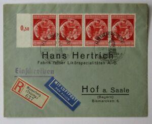 Deutsches Reich, Mi.Nr. 744 (4), 4er Streifen auf R-Luftpostbrief