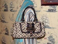 GUESS Black and White Signature Jacquard Satchel Bag