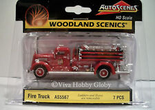 Woodland Scenics AS5567 HO Scale Fire Truck with Ladders and Hoses 7PCS. New