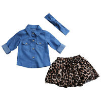 3Pcs Mother Daughter Outfits Women Girl Denim Shirt+Tutu Skirt Dress Clothes Set