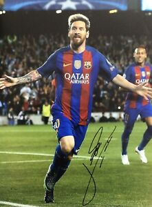 LIONEL MESSI AUTHENTIC SIGNED BARCELONA 16X12 PHOTO AFTAL#198