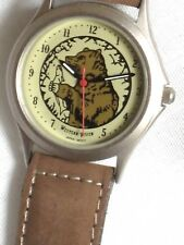 WESTERN VISION BRAND WATCH*ANIMAL BEAR FISHING*GENUINE BROWN LEATHER BAND*UNISEX