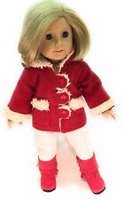 "Red Jacket w/Sherpa Trim & Leggings Pant Set fits 18"" American Girl Doll Clothes"