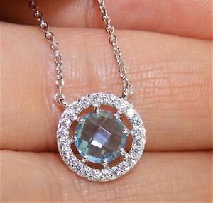 "Aquamarine Diamond Cluster Pendant  925 Sterling Silver 18"" Chain Necklace"