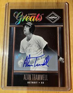 2012 PANINI LIMITED GREATS ALAN TRAMMELL AUTO SIGNED 128/499 HOF BASEBALL CARD !
