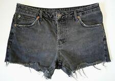 "Topshop Moto Ladies Size 10 Grey Cut Off Denim Button Fly Shorts Waist 30"""