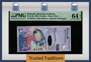 TT PK 59a 2009 BERMUDA MONETARY AUTHORITY 10 DOLLARS PMG 64 EPQ CHOICE UNC!
