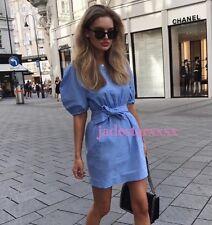 Zara Blue Poplin Dress With Belt Large L 12 New BNWT