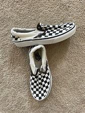 Vans Classic Slip On Checkerboard Shoes Canvas, Men's 5.5 Women's 7 White Black
