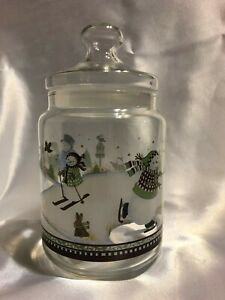 PRINCESS HOUSE 2549 SNOWMAN GLASS COOKIE JAR with COOKIE CUTTERS, NEW IN BOX NIB