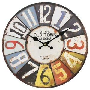 Large Wall Clock Colourful Retro Vintage Rustic Home Round Clock Large Numbers