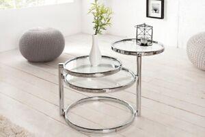 Design Glastisch Tisch Beistelltisch Art Deco mit 3 Ebenen chrom Couchtisch klar