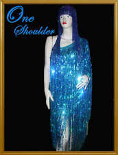 Custom Sequin Fringe DRAG QUEEN 1 shoulder dance Dress