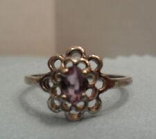 Vintage Antique Estate~Amethyst 925 Sterling Silver Flower Style Ring Size 6.75