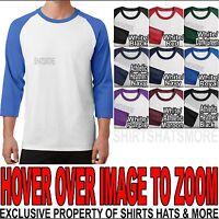 Mens 3/4 Sleeve Baseball T-Shirt Jersey Raglan Team Cotton/Poly S-XL 2X, 3X, 4X