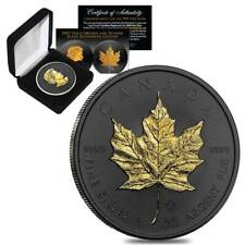 2020 1 Oz Canadian Silver Maple Leaf .9999 Fine Black Ruthenium 24K Gold Coin