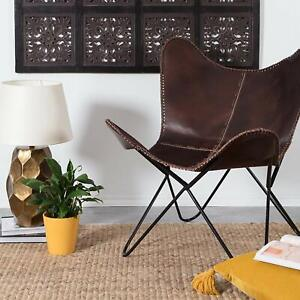 Chair Leather Butterfly Handmade Vintage Cover Brown Relax Room Living Ironstand