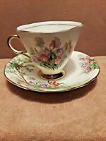 Vintage CLARENCE England Bone China Tea Cup & Saucer w/Gold Trim Excellent