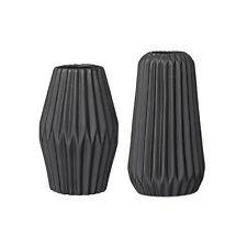 Bloomingville Set of 2 Fluted Decorative Black Porcelain Vases Danish Design