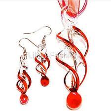 Red Swirl Handmade Lampwork Glass Murano Pendant Ribbon Necklace Earrings Set