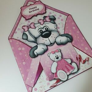 Handmade 3D girls birthday card with puppy Australian made