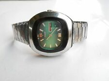 Very Rare Vintage Green TV Dial Square Citizen Japan Day Date Automatic Watch