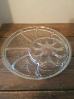 "Vintage Deviled Egg Relish Tray Indiana Glass Divided Plate 13"" Platter Dish"