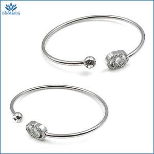 Bracciale da donna rigido con cerchi braccialetto zirconi in acciaio inox per a