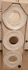 Set of 3 Distressed White Moroccan Modern Mirrors Wall Hanging Home Decor NEW