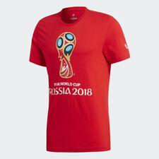 New Adidas Red 2018 FIFA Football World Cup Emblem Youth T-Shirt Sz M