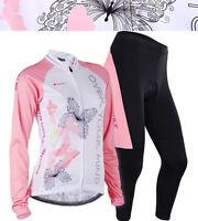 Women Bike Team Cycling Jersey Pants Set Long Sleeves Riding Jersey Trouses Kits