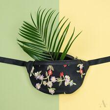 Elegante Damen Bauchtasche Hüfttasche Gürteltasche Tasche Blumen Stickerei