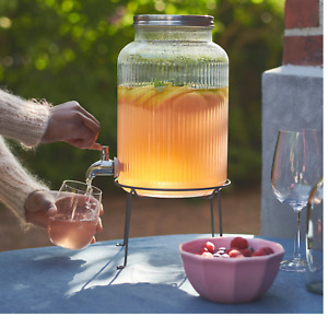 5 Litre Glass Drinks Dispenser Cocktail Flavored Water Juice Party Jar With Tap