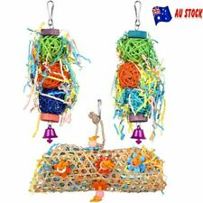 3Pcs Bird Parrot Shredding Toys Chewing Foraging Hanging Cage Shredder Bell Toys
