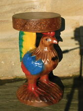 Chicken Cockerel Plant Lamp Stand Side Table  Sustainable Acacia Wood