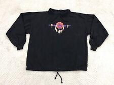 NWT New Habitat Medium M Black Native American Pullover Shirt Top Drawstring 7