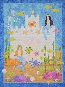 """New Pieced and Applique Quilt Pattern MERMAIDS' CASTLE 25"""" X 32.5"""" Wallhanging"""